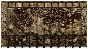 A large twelve-panel Coromandel screen, Qing dynasty, Kangxi period, dated to 1693, 642cm long. Photograph © Sotheby's.
