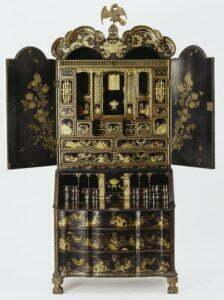 A Canton export lacquer bureau cabinet, circa 1730, 237.7cm high. Victoria and Albert Museum. Photograph © Victoria and Albert Museum.