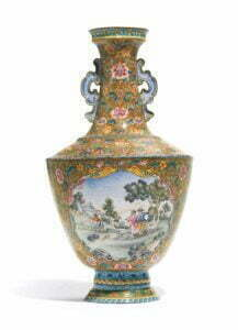 A painted enamel on metal 'European subject' vase, Qianlong seal mark and period, 22cm high. Photograph © Sotheby's.