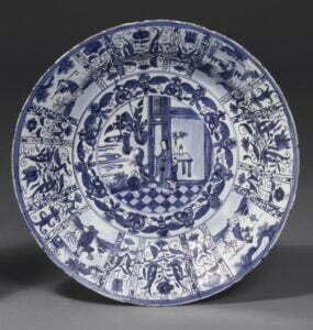 A large blue and white Kraak dish, Ming dynasty, 17th century, 47.5m diameter. Victoria and Albert Museum Photograph © Victoria and Albert Museum.