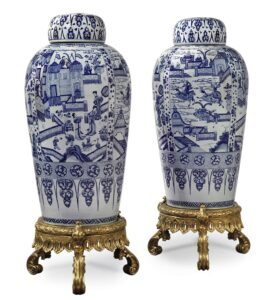 A pair of blue and white 'soldier' vases and covers, Qing dynasty, Kangxi period, 102cm high Photograph © Christie's.