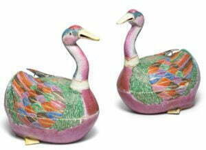 A pair of famille rose 'goose' tureens and covers, QIng dynasty, Qianlong period, 41cm high Photograph © Bonhams.