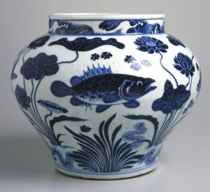 A blue and white fish guan jar, Yuan dynasty, 30.3cm high. Brooklyn Museum, Augustus S. Hutchins Bequest.