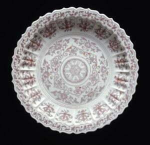 A large copper red lobed dish, Ming dynasty, Hongwu period, 46cm diameter, British Museum.