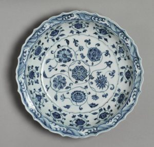 A blue and white lobed dish, Ming dynasty, Yongle period, 34.3cm diameter, British Museum
