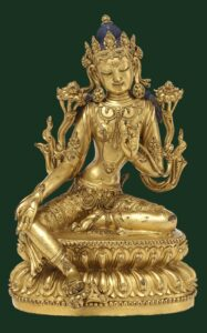 A gilt bronze figure of Green Tara (Syamatara), Yongle mark and period (1403-1424), 19.5cm high.