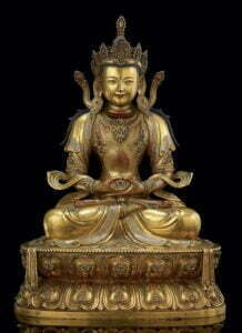 A gilt-bronze figure of Amitayus, Qing dynasty, Kangxi period (1662-1722), 44cm high.