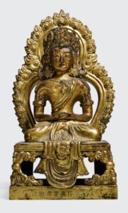 A gilt-Bronze figure of Amitayus, Qianlong mark and period and dated 1770, 21cm high.